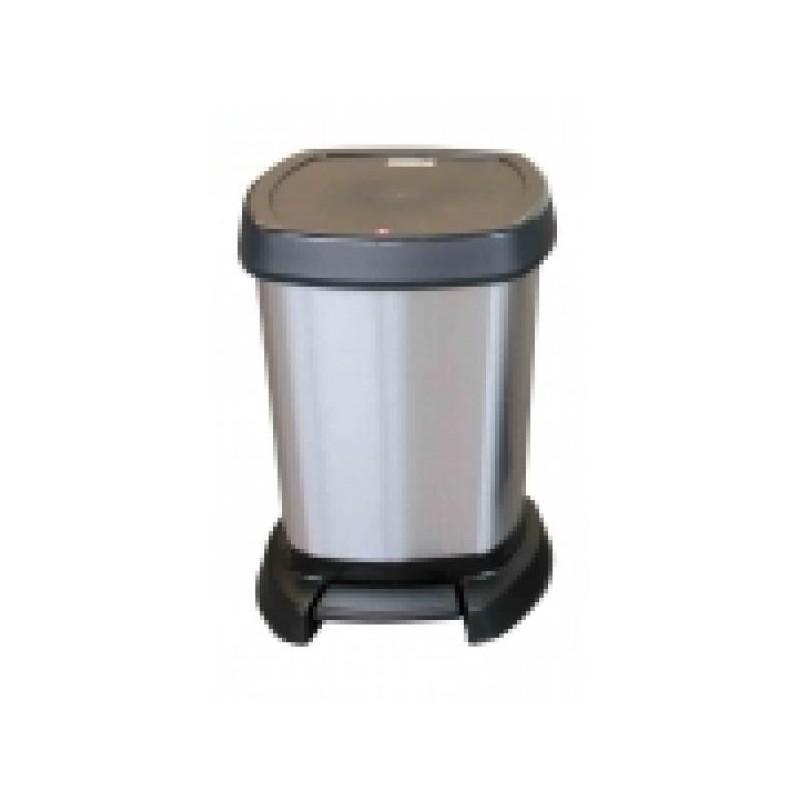 5L, 20L and 40L PASO PLASTIC PEDAL BIN IN METALLIC SILVER AND BLACK
