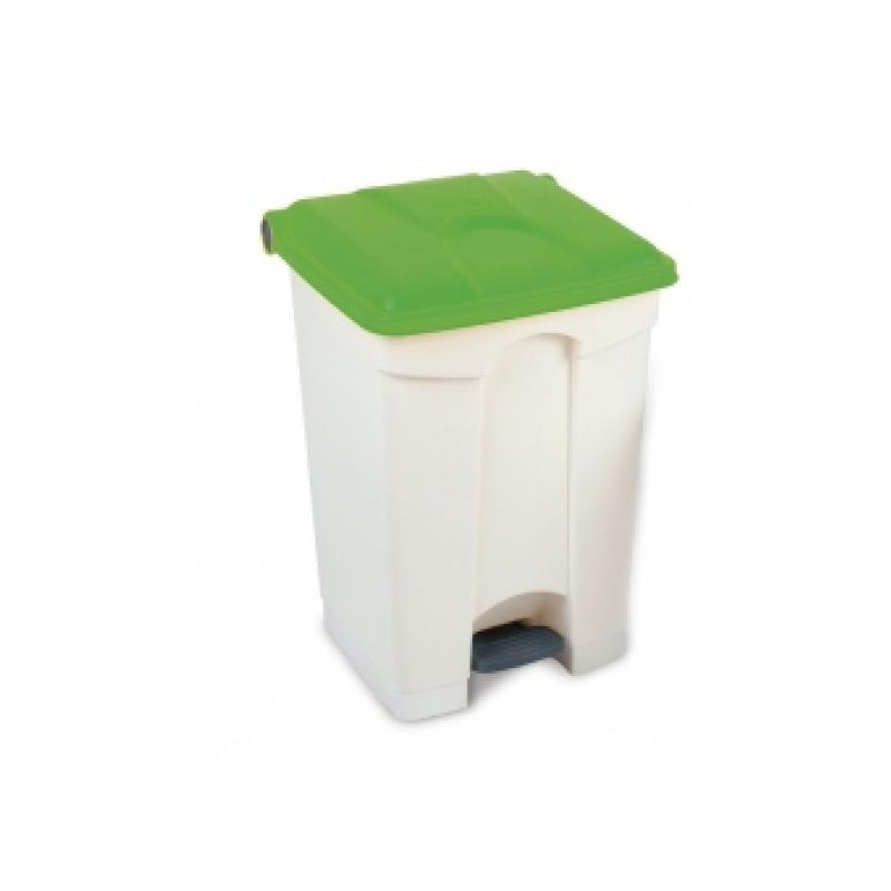70l Step On Container White Base Red Lid, Yellow Lid, Green Lid.