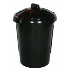 80 Litre dustbin, black, c/w c